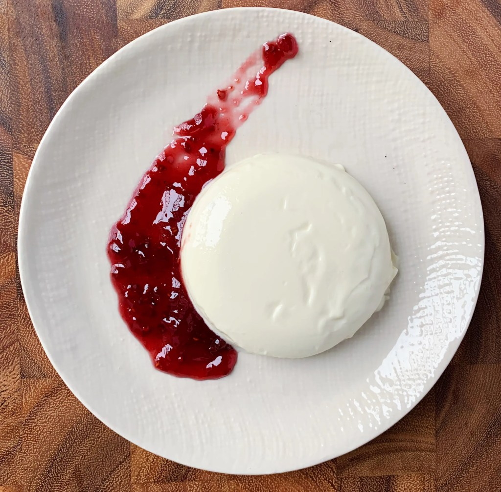 celebration panna cotta with raspberry jam
