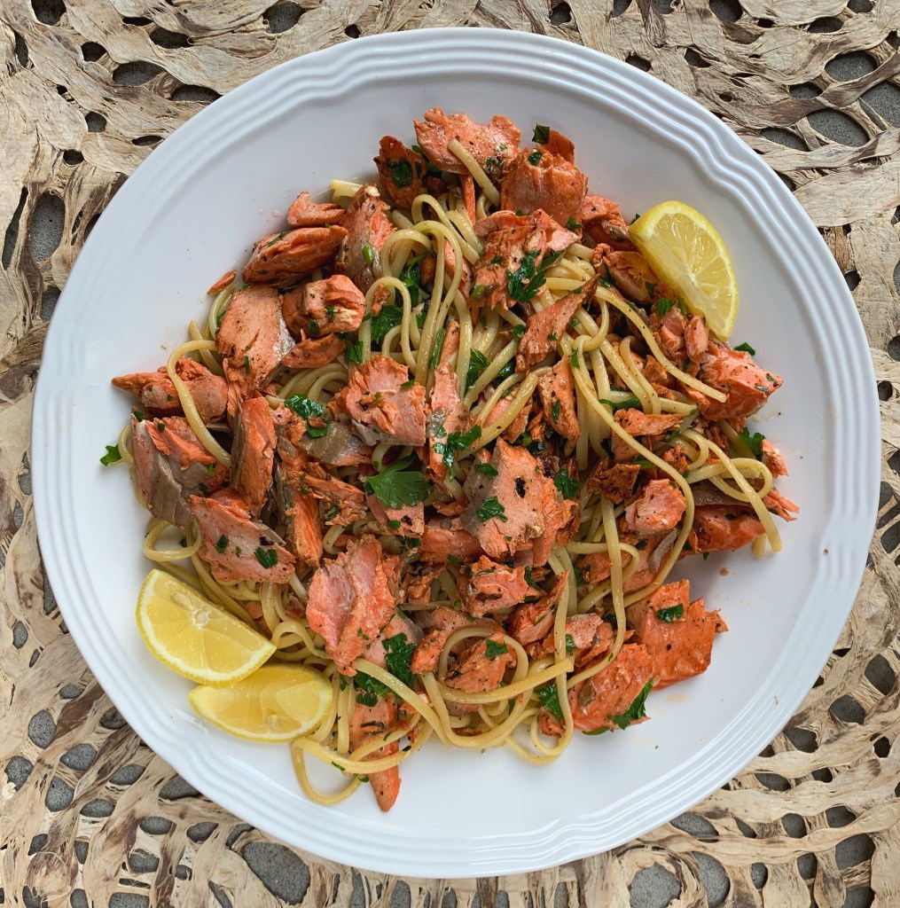 pantry pasta with salmon and lemon