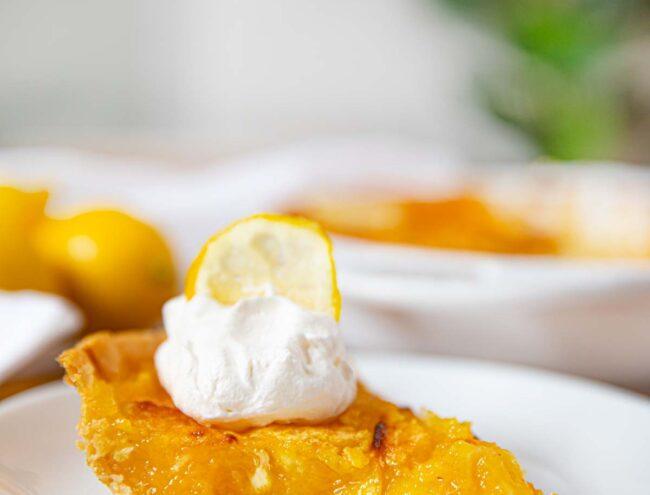 Shaker Lemon Pie slice on plate