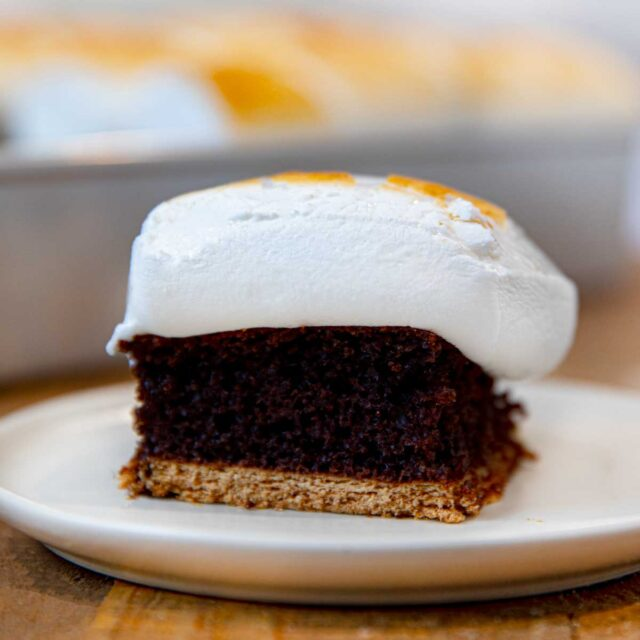 S'mores Sheet Cake slice on plate