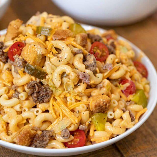 Big Mac Pasta Salad in bowl