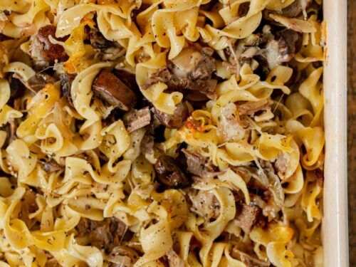 French Onion Beef Noodle Bake in baking dish
