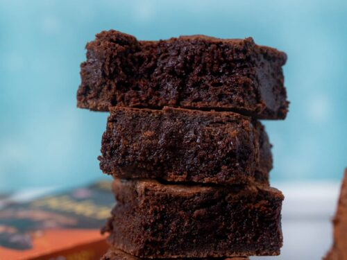 Chewy Brownies in stack