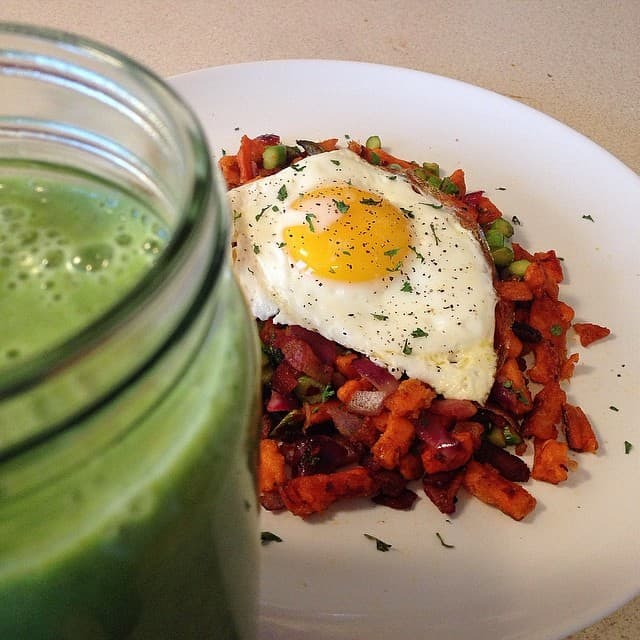Breakfast Hash with the Green Monster smoothie