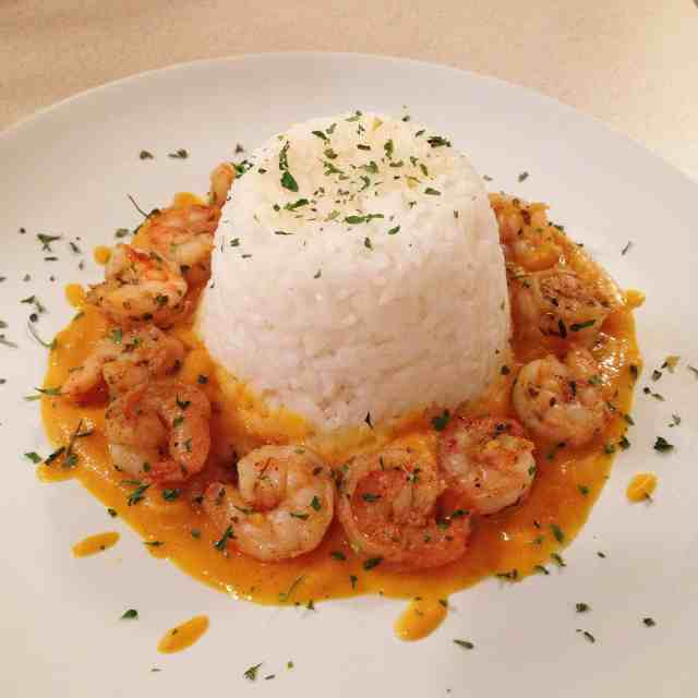 Curried Carrot & Sweet Potato Sauce with Shrimp & Jasmine Rice