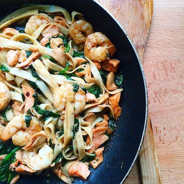 Shrimp and Salmon Noodles