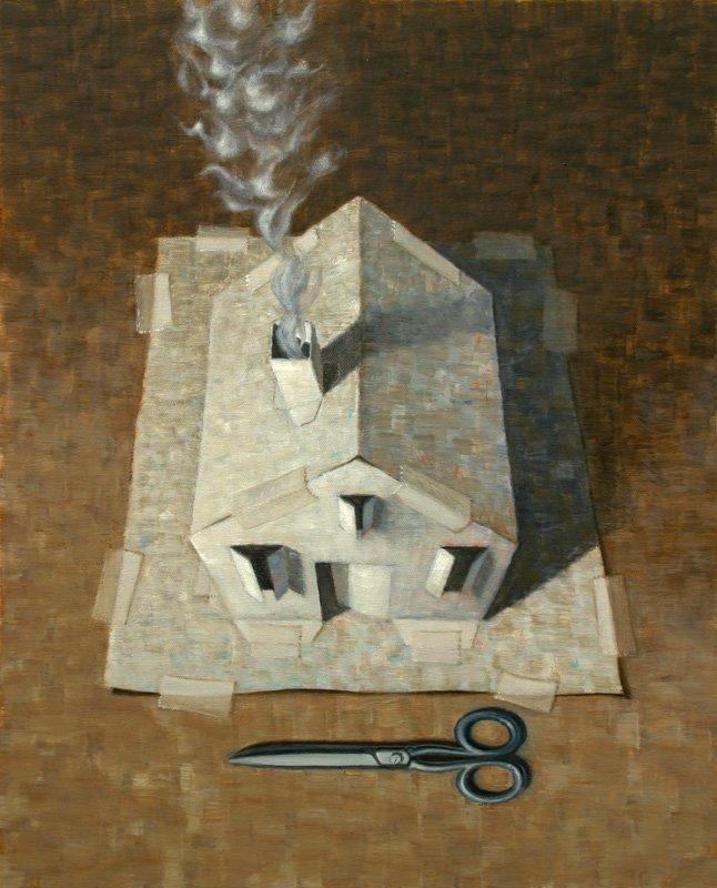 Dino Buffagni - La casa del mago - Olio su tela