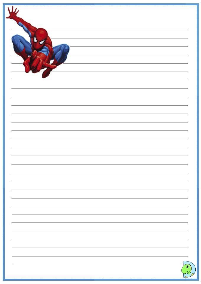 spiderman writing paper dinokids org