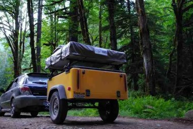 Jeep Trailer Towed by Subaru