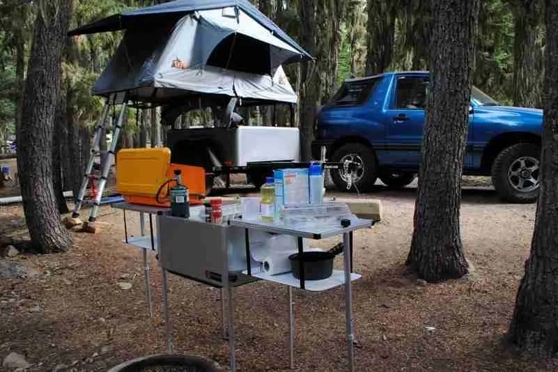 Jeep Trailer Portable Camping Kitchen Open at Campsite