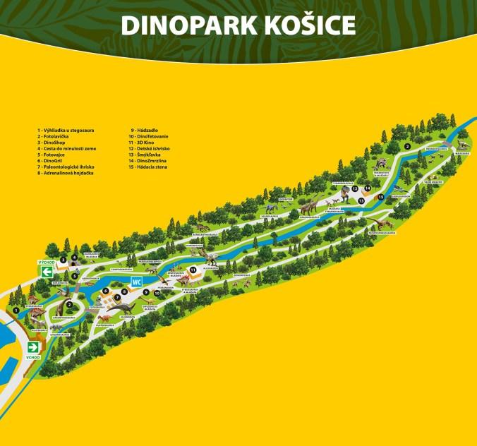 Карта Дінопарку у Кошице