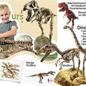 Riesiges Dino-4in1 Set: 91cm Tyrannosaurus Rex Bausatz, Brachiosaurus Skelett Bausatz 23 Teile Animal Planet + Velociraptor Skelett Bausatz 24 Teile von Animal Planet + GK008 Tyrannosaurus Rex mit Fossilien gießen + Handbuch