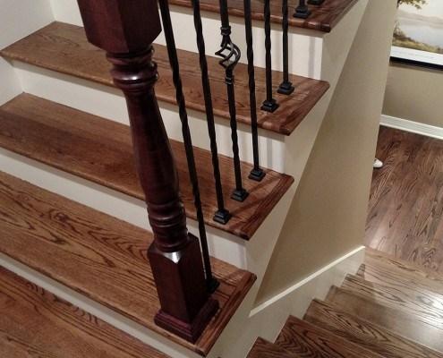 Hardwood And Steps Dinsmore Flooring Omaha Ne | White Oak Stair Risers | Spindles | Paint | Stair Railing | Stairs Treads | Carpet