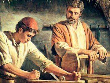 Jesús y San José en el taller