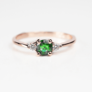 tsavorite ring in rose gold