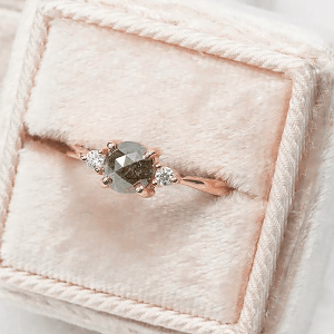 salt and pepper diamond engagement ring