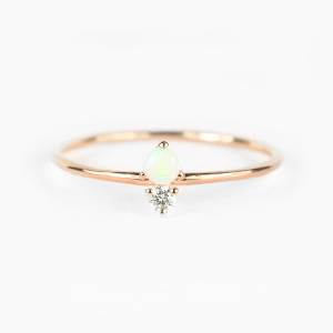 opal and diamond stackable ring
