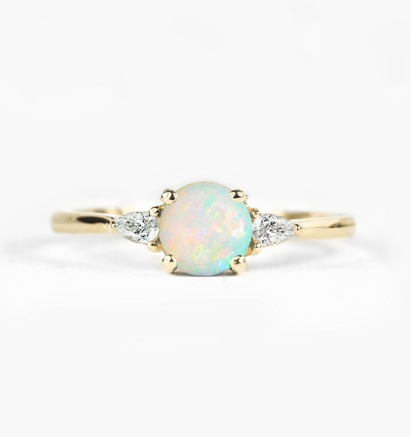 opal engagement ring three stone diamond engagement ring