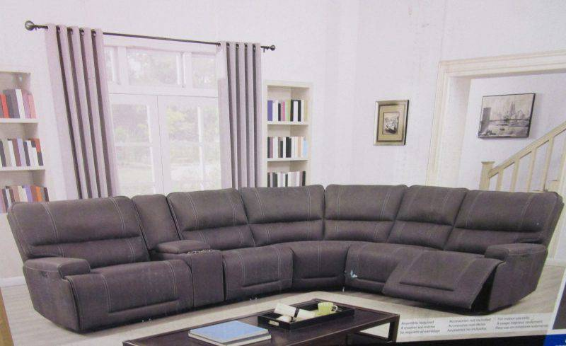 costco argento 6 piece fabric power reclining sectional with power headrests in gray with 3 power reclining seats 2 power and 4 usb outlets new in