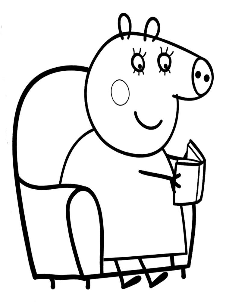Dibujos infantiles para colorear - Peppa Pig mama pig