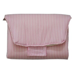 trocador portátil fechado listrado rosa