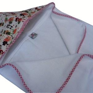 toalha fralda branca com capuz colorido
