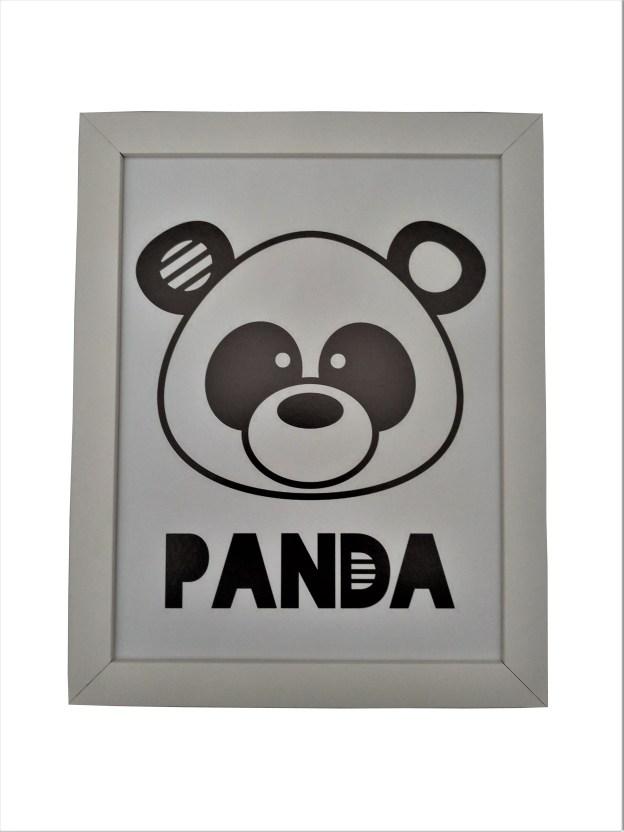 quadro moldura branca com gravura infantil panda
