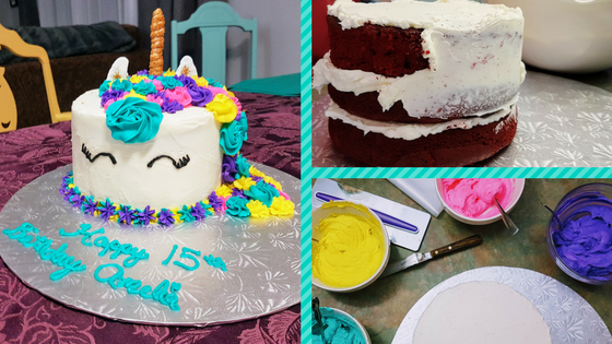 three views of icing the cake, mixing the colours and the finished unicorn cake