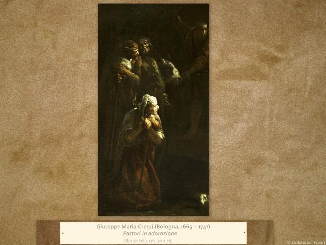 Giuseppe Maria Crespi (Bologna, 1665 – 1747) | Pastori in adorazione | Olio su tela, cm. 30 x 16.