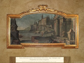 Pietro Paltronieri (detto il Mirandolese) (Mirandola, 1679 – Bologna, 1741) | Prospettiva con chiesa neogotica | Tempera su prima tela nella sua cornice originale d'epoca, cm. 71 x 153.