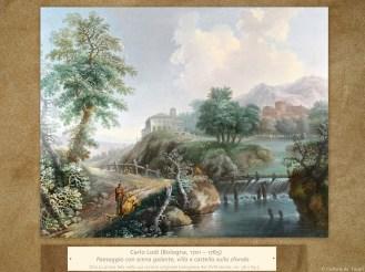 Carlo Lodi (Bologna, 1701 – 1765) | Paesaggio con scena galante, villa e castello sullo sfondo | Olio su prima tela nella sua cornice originale bolognese del XVIII secolo, cm. 56 x 69,5.
