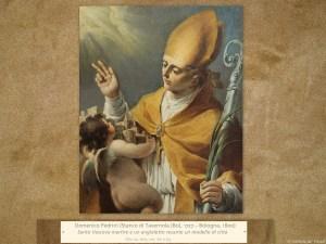 Domenico Pedrini (Stanco di Tavernola [Bo], 1727 – Bologna, 1800) | Santo Vescovo martire e un angioletto recante un modello di città | Olio su tela, cm. 80 x 63.