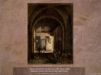 Étienne Bouhot (Bard-lès-Époisses, 1780 – Semur, 1862) Veduta del chiostro della chiesa di Saint-Paul a Parigi Olio su prima tela, cm. 32,5 x 24