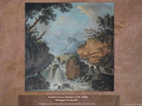 Rodolfo Fantuzzi (Bologna, 1779 – 1832) | Paesaggio con cascata | Tempera su prima tela nella sua cornice originale, cm. 121 x 121