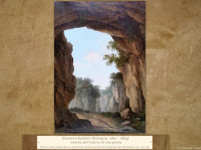 Giovanni Barbieri (Bologna, 1780 – 1864) | Veduta dall'interno di una grotta | Olio su carta applicata su cartoncino nella sua cornice originale del XIX secolo, cm. 29 x 40.