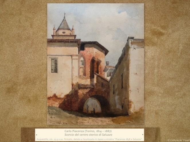 Carlo Piacenza (Torino, 1814 – 1887) | Scorcio del centro storico di Saluzzo | Acquarello, cm. 27,5 x 22. Firmato, datato e localizzato in basso a sinistra Piacenza 1858 a Saluzzo.