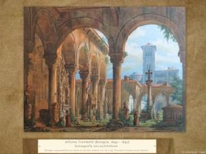 Dipinti antichi | Alfonso Trombetti (Bologna, 1840 – 1892) | Scenografia con architetture