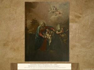 Giuseppe Varotti (Bologna, 1715 – 1780) | Madonna e S. Chiara col Bambino e un angelo | Olio su tela, cm. 153 x 115. Sul telaio originale l'iscrizione Sig. Giuseppe Varotti F.