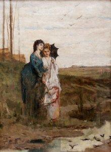 Luigi Busi (1837 – 1884) | Tutti hanno il loro nido | Olio su tela, cm. 57 x 42