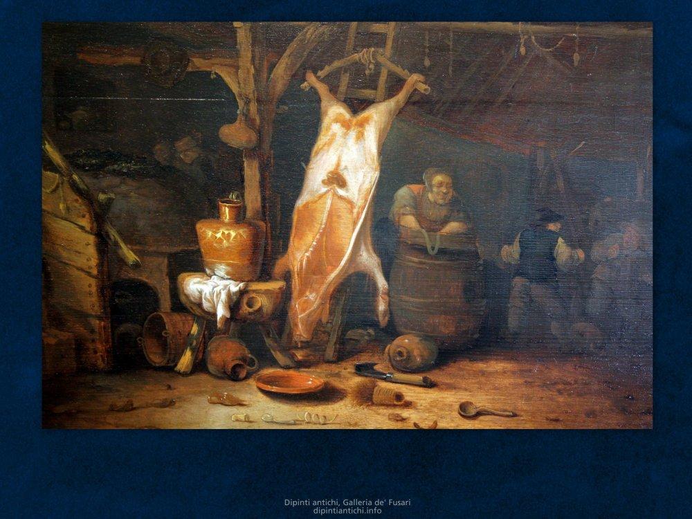 Dipinti antichi | Hendrick Bogaert (1626/7 – 1672) | Scena d'interno | Olio su tavola, cm. 49 x 64, firmato.