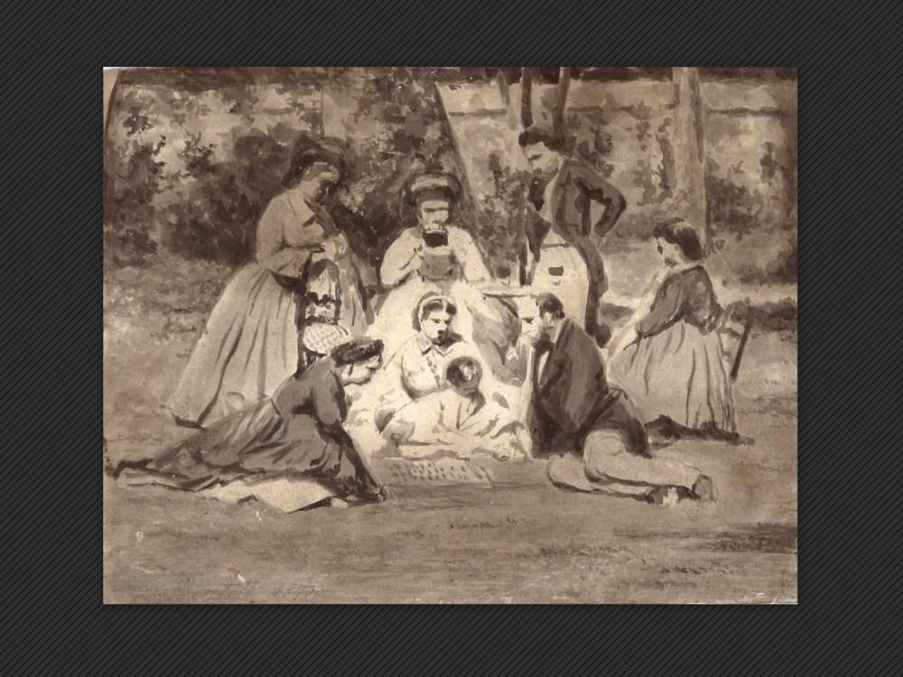Luigi Bertelli, Gruppo di famiglia in un giardino