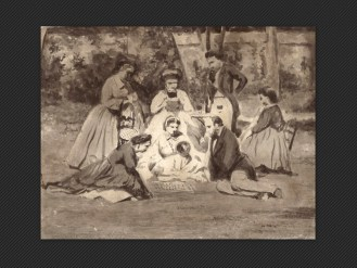 Luigi Bertelli   Gruppo di famiglia in un giardino