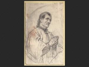Alessandro Guardassoni | Figura orante | Disegno su carta cm. 16,5 x 10,2