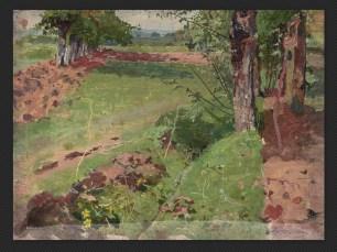 """Alfredo Savini, Paesaggio   Olio su tavola, cm. 13,9 x 18,5. Firmato """"Savini"""" in basso a destra."""