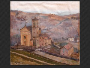 Arnaldo Gentili, La piccola parrocchia (Casaglie) | Olio su cartone, cm. 55 x 57. Firmato e datato 1951.