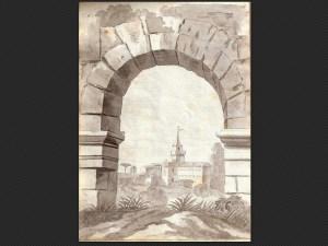 Carlo Calori, Torre del Grillo | Disegno a matita e acquerello monocromo, cm. 22,2 x 16
