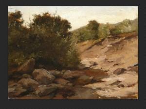 Ferruccio Giacomelli, Paesaggio a Castel d'Aiano | Olio su cartone cm. 25 x 34