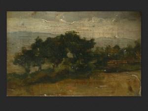 Ferruccio Giacomelli | Paesaggio al crepuscolo, olio su tavola, cm. 11 x 17