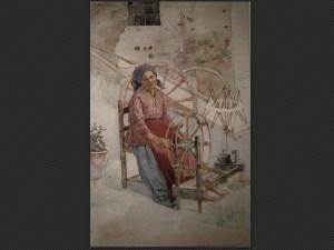 Orfeo Orfei, La filatrice | Acquerello su carta, cm. 38 x 25,5. Firmato in basso a destra