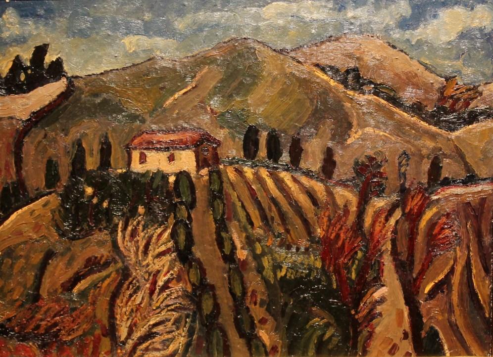 Amedeo Cavani, Casetta sui colli, Olio su tela cm 30 x 40 (2)